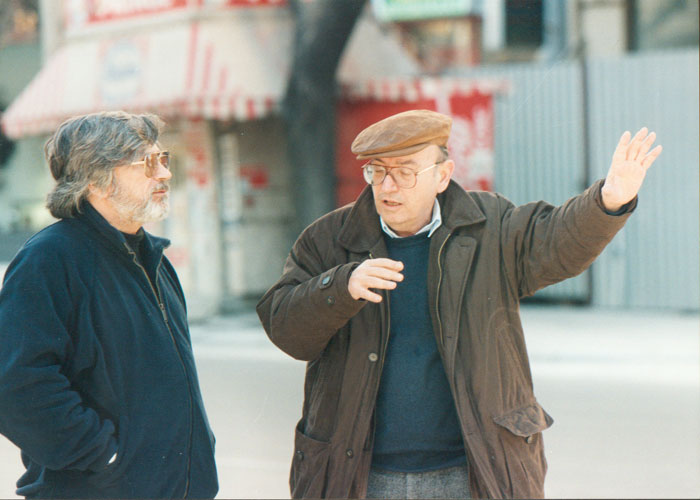 Theo Angelopoulos with Yorgos Arvanitis during the shooting of the film «Eternity and a day», Fotoreportage in Greece and abroad: Yanis Kiriakidis