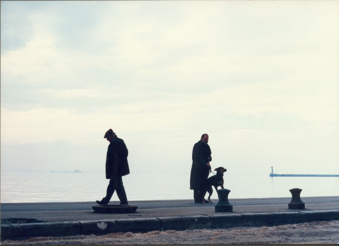Theo Angelopoulos and Bruno Ganz in Thessalonica during the shooting of the film «Eternity and a day», 1997