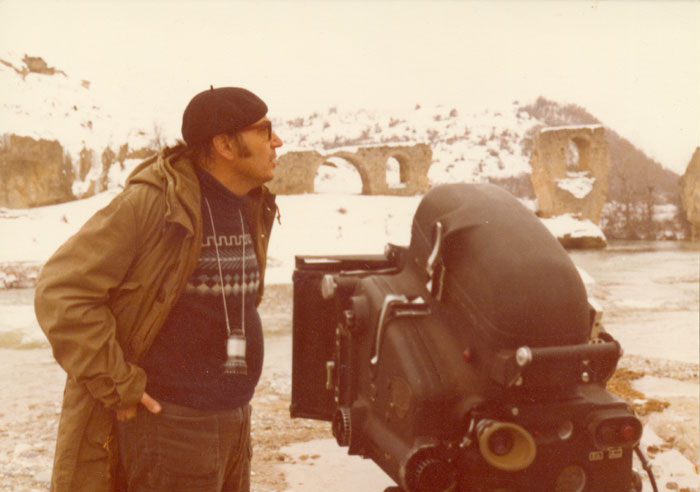 ΟΘόδωροςΑγγελόπουλοςκατάτηδιάρκειατωνγυρισμάτωντηςταινίας«Μεγαλέξανδρος»,1979